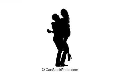 vrouw, paar te lopen, man, hand., hand, silhouette