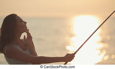 vrouw, pa???e?, afbeeldingen, jonge, telefoon, ondergaande zon , aantrekkelijk, zee, monopod