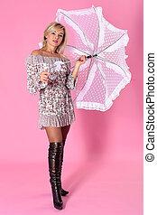 vrouw, paraplu