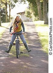 vrouw, park, jonge, herfst, verticaal, cyclus