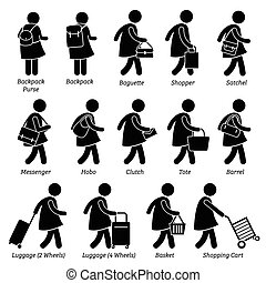 vrouw, portemonaie, zakken, vrouwlijk, buidel