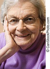 vrouw, portrait., middelbare leeftijd