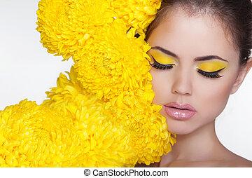 vrouw, puur, eyes, makeup., op, beauty, chrysant, portrait., perfect, fris, skin., model, girl., face., spa, flowers., mooi