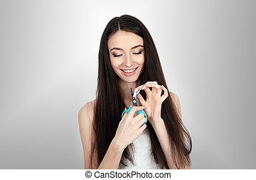 vrouw, samengestelde afbeelding, het breken, sigaret, helft, het glimlachen