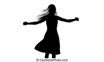vrouw, silhouette, dancing