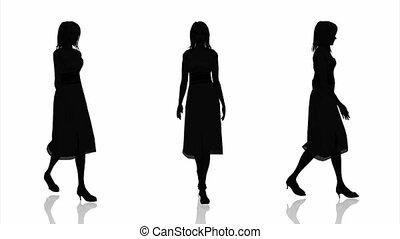 vrouw, silhouette