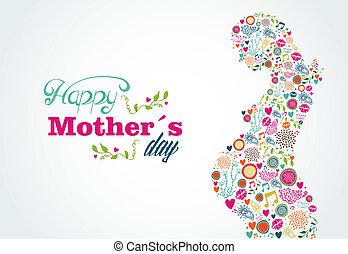vrouw, silhouette, moeders, zwangere , illustratie, vrolijke
