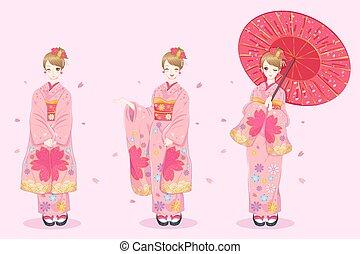 vrouw, slijtage, kimono
