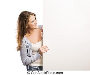 vrouw, spandoek, reclame