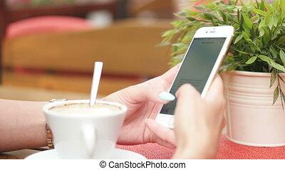 vrouw, texting, jonge