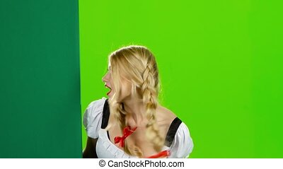 vrouw, thumb., beiers, groene, kostuum, oktoberfest., scherm, optredens
