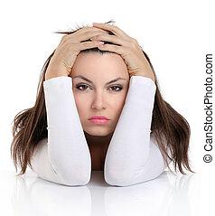 vrouw, uitdrukking, bezorgd, gezicht