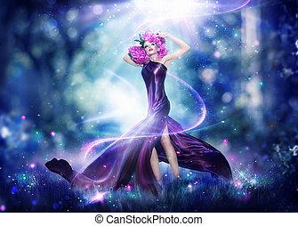 vrouw, verticaal, fantasie, elfje, mooi, kunst, mode