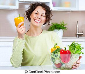 vrouw, voedingsmiddelen, jonge, gezonde , mooi