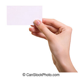 vrouw, vrijstaand, hand, papier, achtergrond, witte , kaart