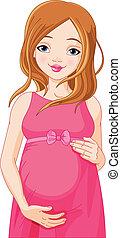 vrouw, vrolijke , bereid, b, zwangere