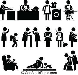 vrouw, vrouw, moeder, dagelijks routine