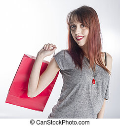 vrouw winkelen, jonge, zak, vasthouden, rood