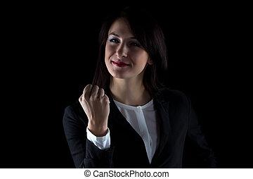 vrouw zaak, foto, het tonen, fist, het glimlachen