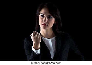 vrouw zaak, foto, het tonen, fist, serieuze