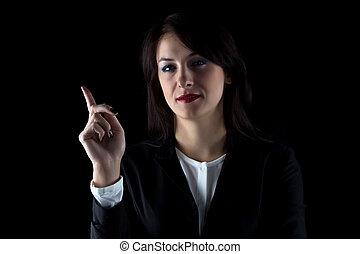 vrouw zaak, het tonen, op, verticaal, het glimlachen