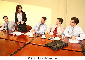 vrouw zaak, informeel, -, baas, toespraak, vergadering