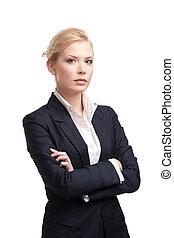 vrouw zaak, zwarte achtergrond, kostuum, witte