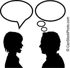 vrouw, &, zeggen, toespraak, man, denken, praatje, luisteren