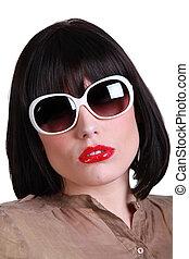 vrouw, zonnebrillen, verfijnd