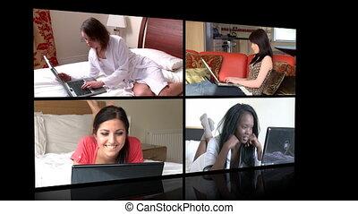 vrouwen, draagbare computer, jonge, gebruik
