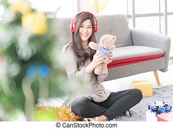 vrouwen, mooi, muziek, headphones, luisteren