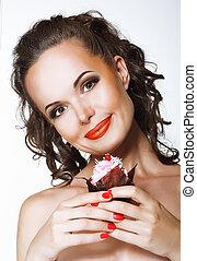 vrouwenholding, afgeranselde, vrolijke , jonge, cupcake, room, gourmet.
