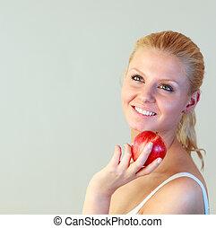 vrouwenholding, vriendelijk, appel, brandpunt