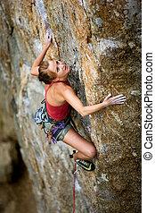 vrouwlijk, beklimming, rots