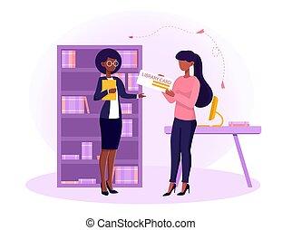 vrouwlijk, de kaart van de bibliotheek, bibliothecaris, vrouw, geven