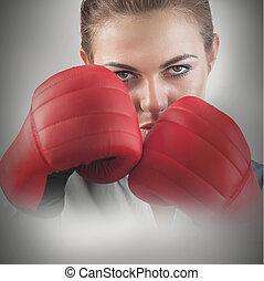 vrouwlijk, machtig, bokser