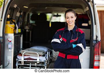 vrouwlijk, vrolijke , paramedic