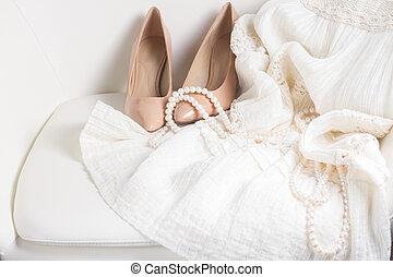 vrouwlijk, witte , accessoires
