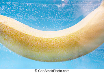 vrucht water, close-up., een, sappig, banaan, rijp