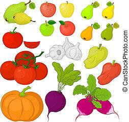 vruchten, groentes, set