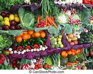vruchten, kleurrijke, groentes