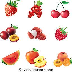 vruchten, set, rode bessen