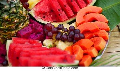 vruchten, zoet, schaaltje, fruit, tropische