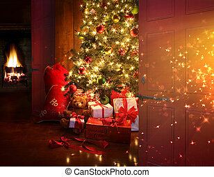 vuur, achtergrond, kerstboom, scène