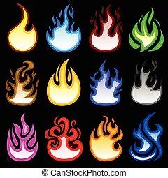 vuur, branden, vlam, brand, pictogram