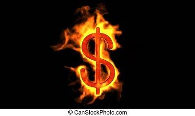 vuur, dollar, symbool.