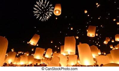 vuur, velen, lantaarns, hemel, thailand