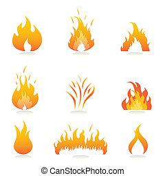 vuur, vlammen, tekens & borden