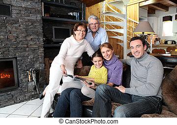 vuur, voorkant, gezin, zittende