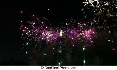 vuurwerk, kleurrijke, viering